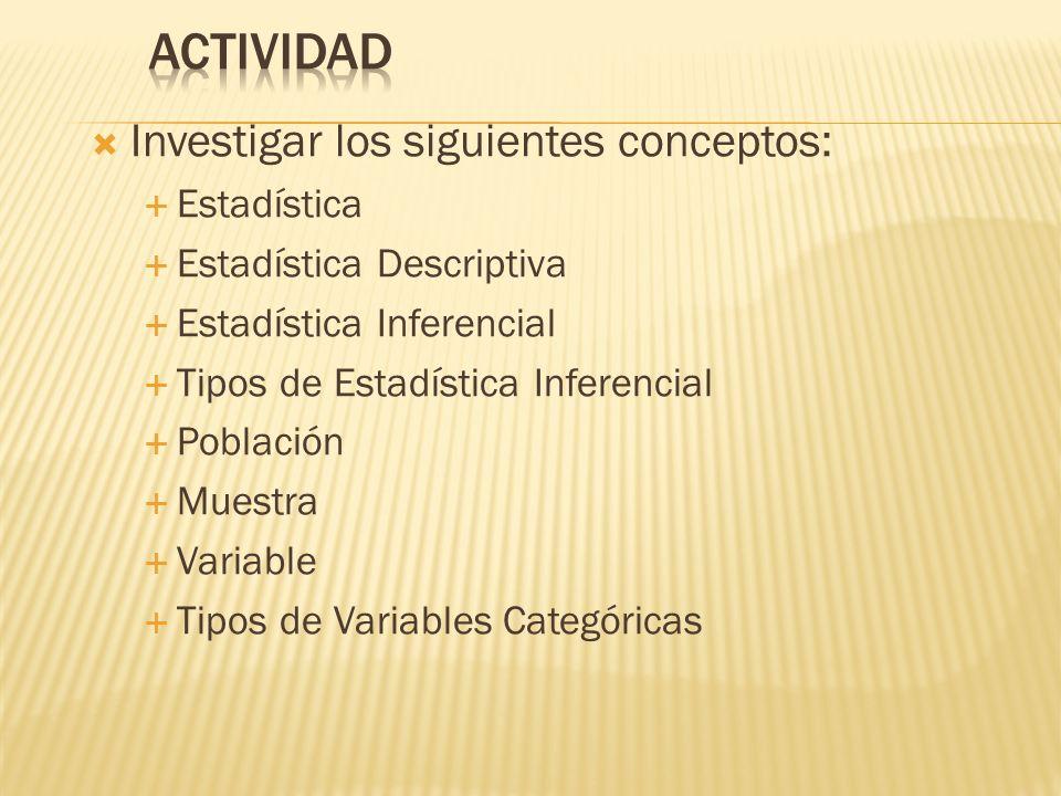 Investigar los siguientes conceptos: Estadística Estadística Descriptiva Estadística Inferencial Tipos de Estadística Inferencial Población Muestra Variable Tipos de Variables Categóricas