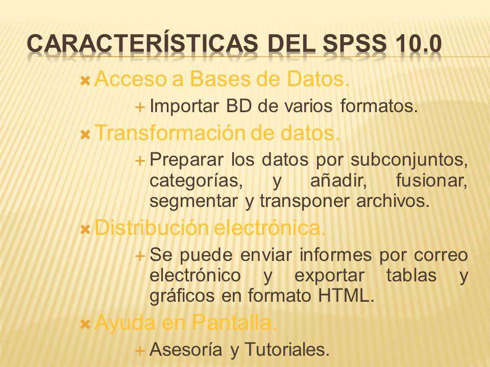 Acceso a Bases de Datos.Importar BD de varios formatos.
