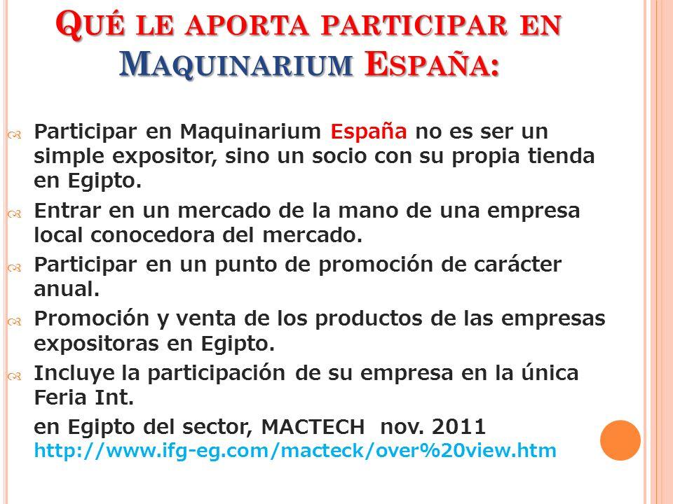 Q UÉ LE APORTA PARTICIPAR EN M AQUINARIUM E SPAÑA : Participar en Maquinarium España no es ser un simple expositor, sino un socio con su propia tienda en Egipto.