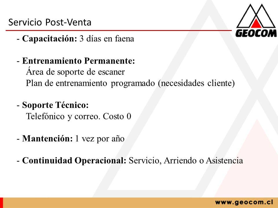 Servicio Post-Venta - Capacitación: 3 días en faena - Entrenamiento Permanente: Área de soporte de escaner Plan de entrenamiento programado (necesidad