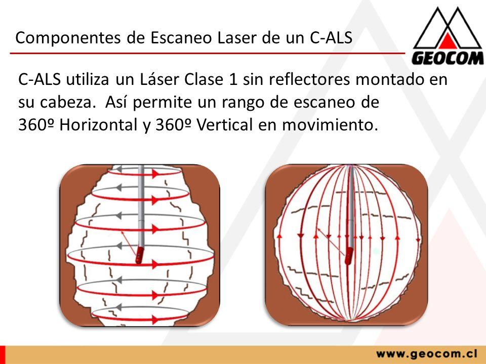 Componentes de Escaneo Laser de un C-ALS C-ALS utiliza un Láser Clase 1 sin reflectores montado en su cabeza. Así permite un rango de escaneo de 360º