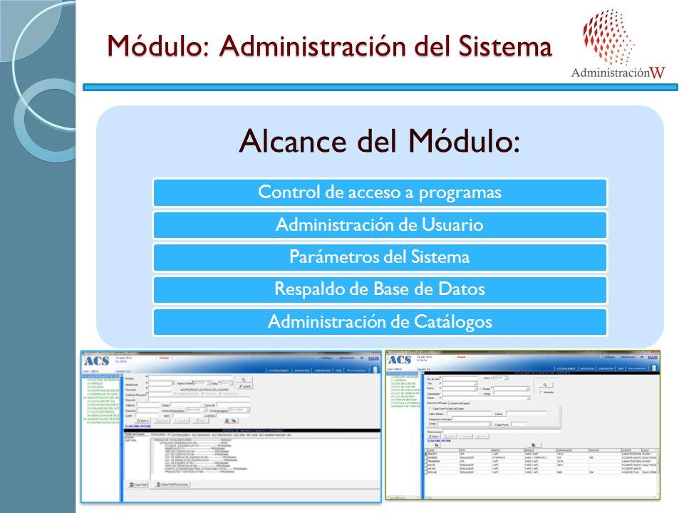 Módulo: Administración del Sistema Alcance del Módulo: Control de acceso a programasAdministración de UsuarioParámetros del Sistema Respaldo de Base de DatosAdministración de Catálogos
