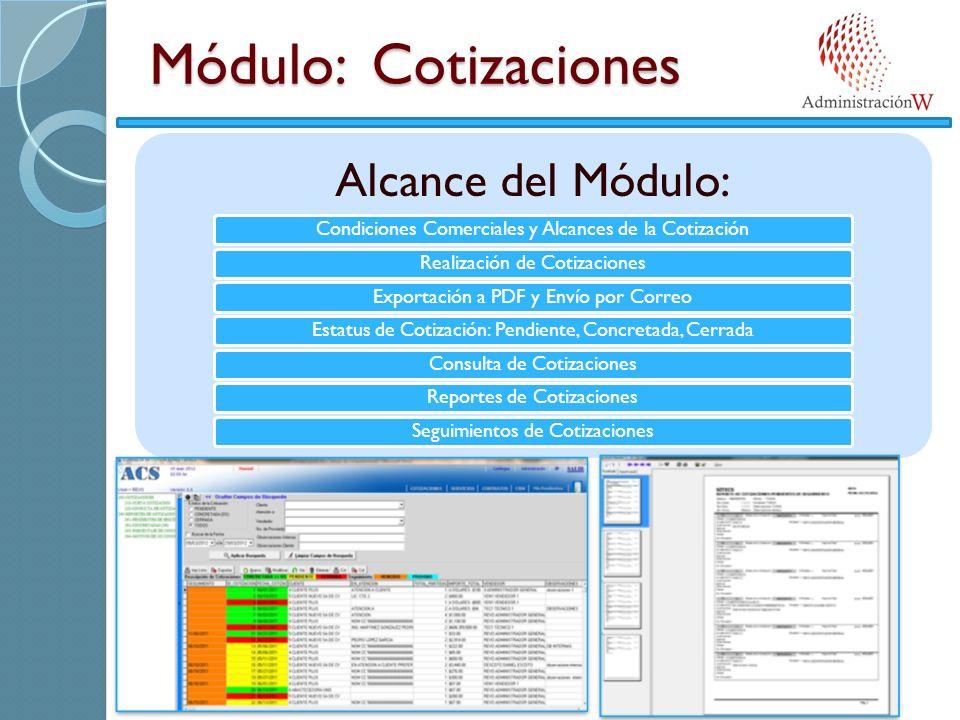 Módulo: Cotizaciones Alcance del Módulo: Condiciones Comerciales y Alcances de la CotizaciónRealización de CotizacionesExportación a PDF y Envío por CorreoEstatus de Cotización: Pendiente, Concretada, CerradaConsulta de CotizacionesReportes de CotizacionesSeguimientos de Cotizaciones