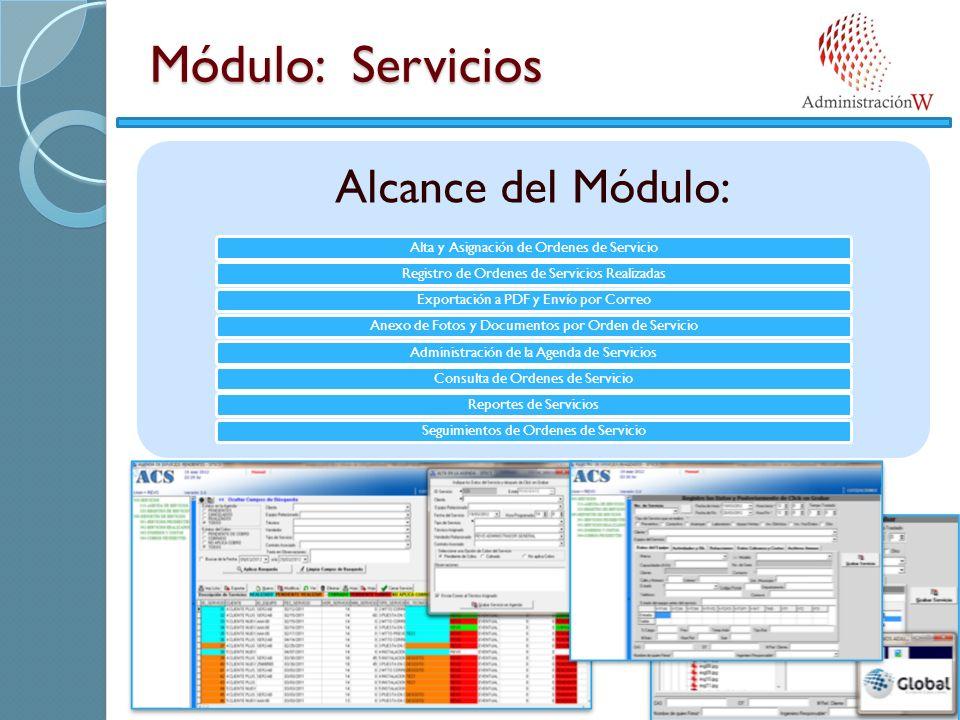 Módulo: Servicios Alcance del Módulo: Alta y Asignación de Ordenes de ServicioRegistro de Ordenes de Servicios RealizadasExportación a PDF y Envío por CorreoAnexo de Fotos y Documentos por Orden de ServicioAdministración de la Agenda de ServiciosConsulta de Ordenes de ServicioReportes de ServiciosSeguimientos de Ordenes de Servicio