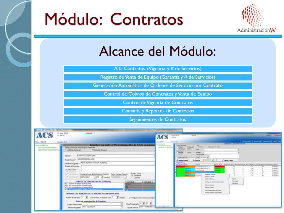 Módulo: Contratos Alcance del Módulo: Alta Contratos (Vigencia y # de Servicios)Registro de Venta de Equipo (Garantía y # de Servicios)Generación Auto