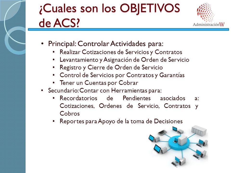 ¿Cuales son los OBJETIVOS de ACS? Principal: Controlar Actividades para: Realizar Cotizaciones de Servicios y Contratos Levantamiento y Asignación de
