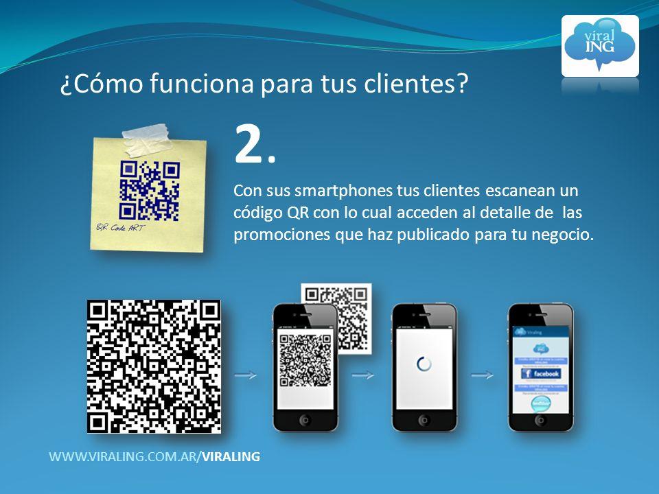 2. Con sus smartphones tus clientes escanean un código QR con lo cual acceden al detalle de las promociones que haz publicado para tu negocio. ¿Cómo f
