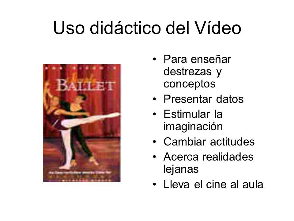 Uso didáctico del Vídeo Para enseñar destrezas y conceptos Presentar datos Estimular la imaginación Cambiar actitudes Acerca realidades lejanas Lleva el cine al aula
