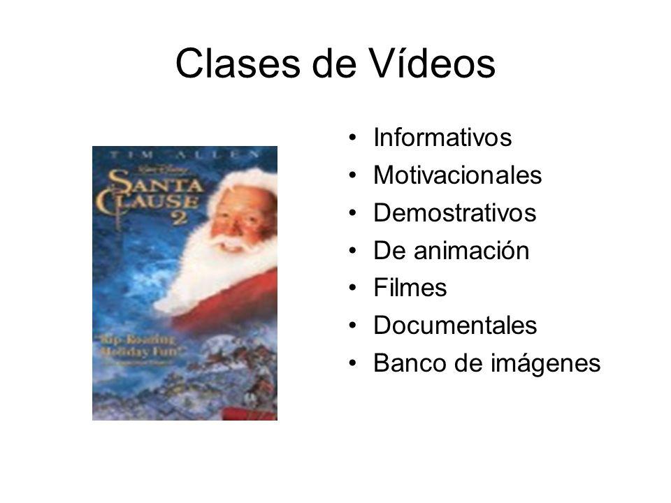 Clases de Vídeos Informativos Motivacionales Demostrativos De animación Filmes Documentales Banco de imágenes