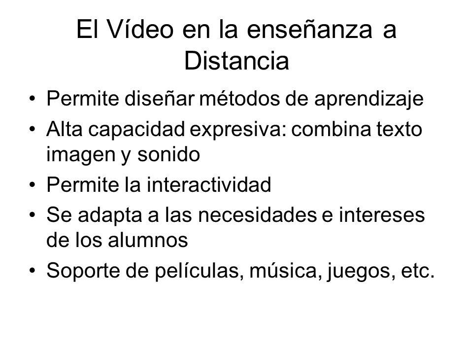 El Vídeo en la enseñanza a Distancia Permite diseñar métodos de aprendizaje Alta capacidad expresiva: combina texto imagen y sonido Permite la interactividad Se adapta a las necesidades e intereses de los alumnos Soporte de películas, música, juegos, etc.