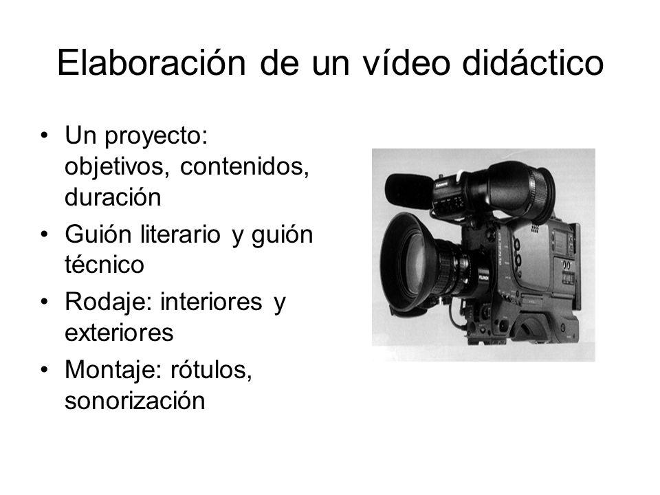 Elaboración de un vídeo didáctico Un proyecto: objetivos, contenidos, duración Guión literario y guión técnico Rodaje: interiores y exteriores Montaje: rótulos, sonorización