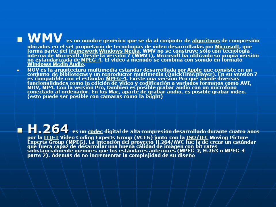 WMV es un nombre genérico que se da al conjunto de algoritmos de compresión ubicados en el set propietario de tecnologías de video desarrolladas por Microsoft, que forma parte del framework Windows Media.