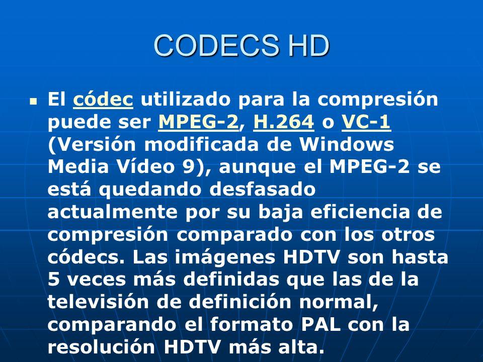 CODECS HD El códec utilizado para la compresión puede ser MPEG-2, H.264 o VC-1 (Versión modificada de Windows Media Vídeo 9), aunque el MPEG-2 se está quedando desfasado actualmente por su baja eficiencia de compresión comparado con los otros códecs.