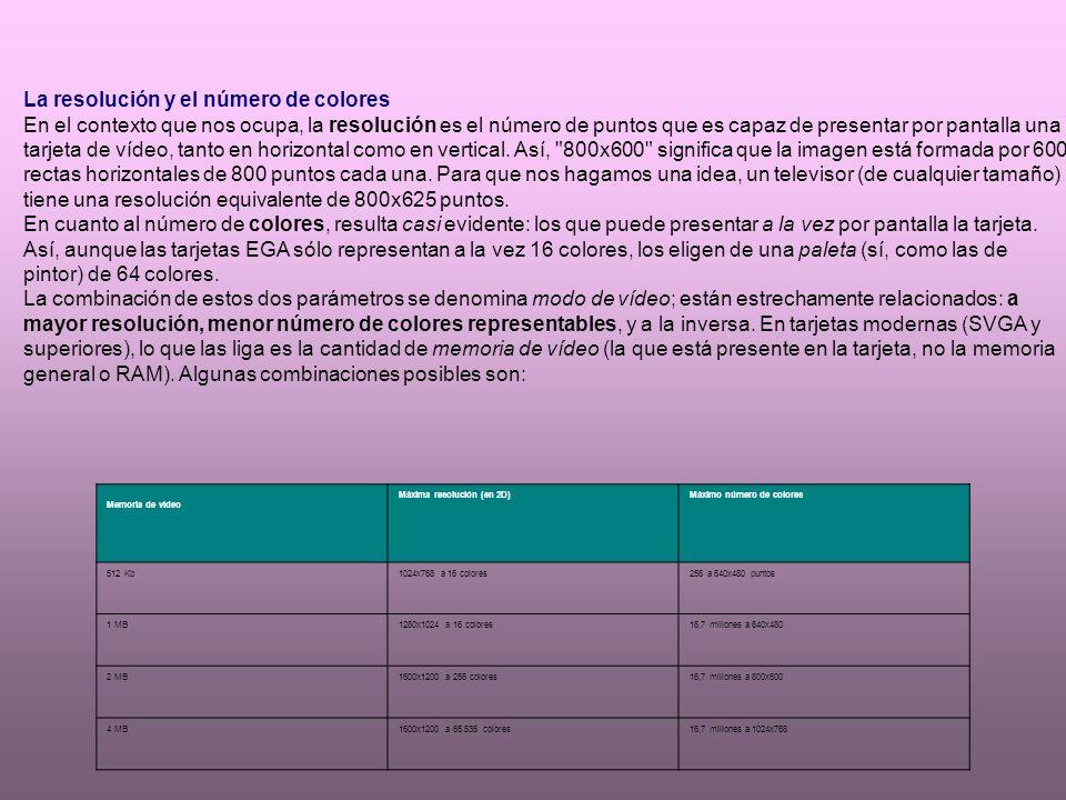 CLASES DE TARJETAS DE VIDEO M D A : Monitores amarillos o verdes (caracteres= C G A : Computer graphics array, primeros gráficos HERCULES: 720 * 348, no ofrecía color EGA (I B M ), Windows 3.1 V G A : 640 * 480, 256 colores SVGA, XGA y superiores; mocho mayor resolución y / o número de colores disponibles