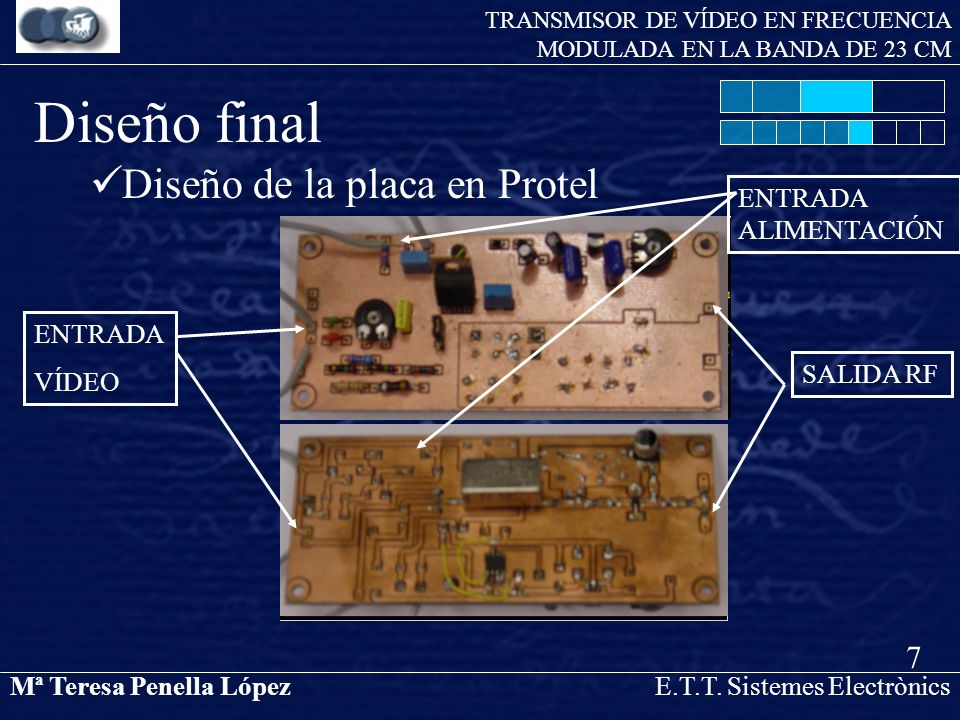 Mª Teresa Penella LópezE.T.T. Sistemes Electrònics TRANSMISOR DE VÍDEO EN FRECUENCIA MODULADA EN LA BANDA DE 23 CM Diseño de la placa en Protel 7 Dise