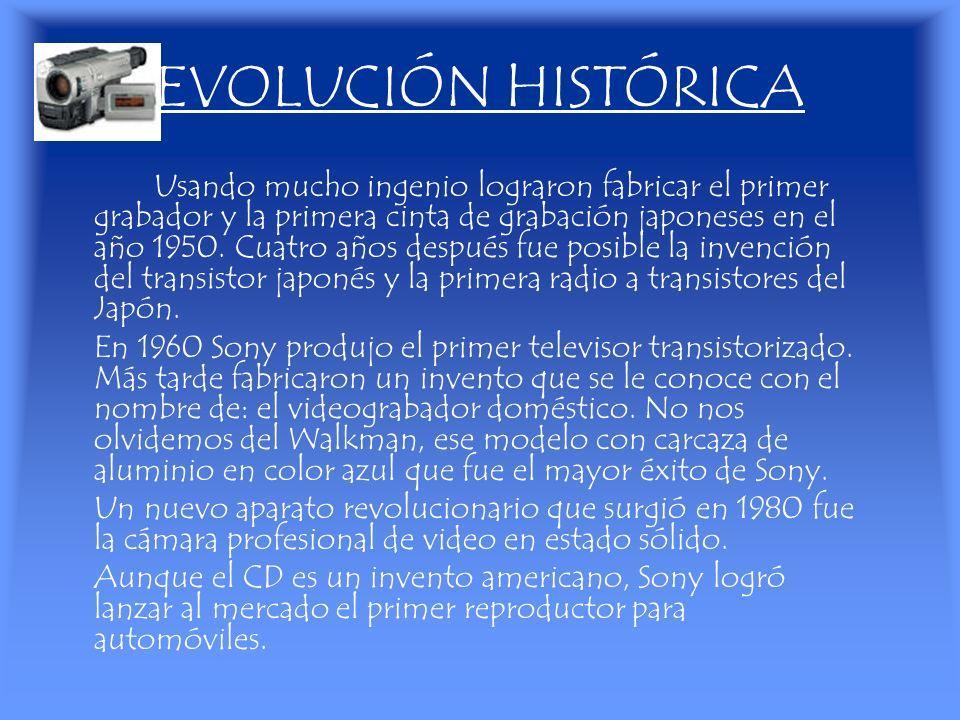 EVOLUCIÓN HISTÓRICA Usando mucho ingenio lograron fabricar el primer grabador y la primera cinta de grabación japoneses en el año 1950. Cuatro años de