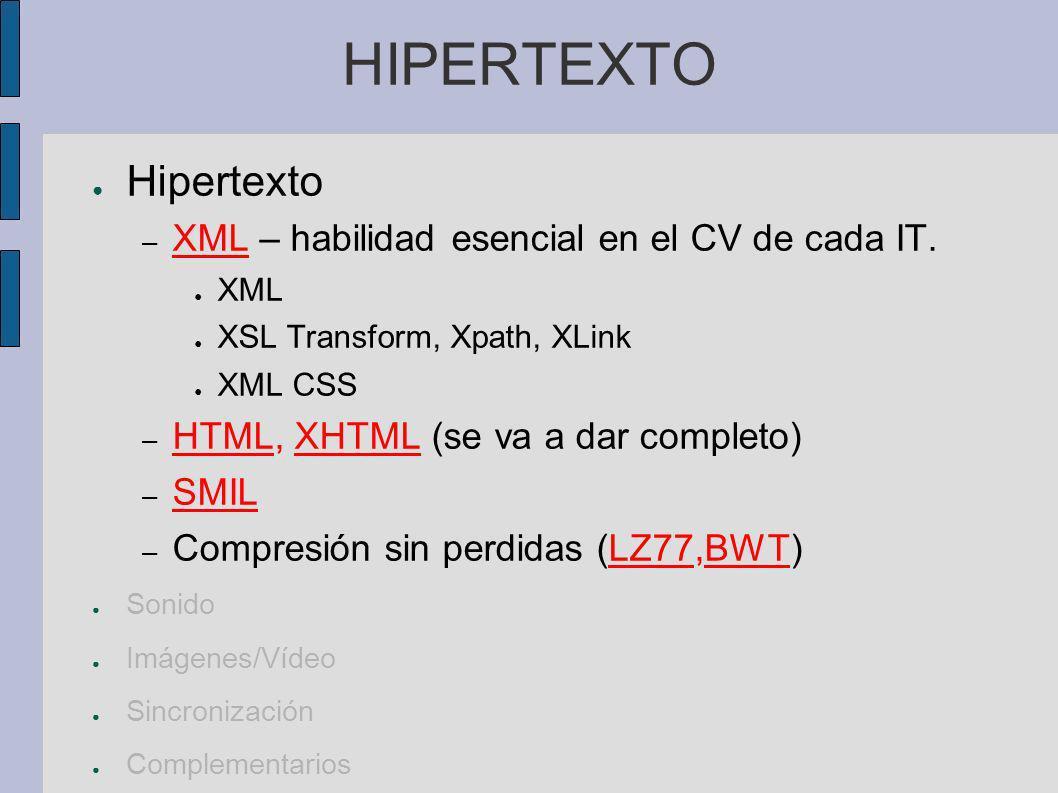 SONIDO Hipertexto Sonido (voz, Audio) – Percepción características y adquisición de sonido digital – Procesamiento Filtros, análisis espectral, subband coding.