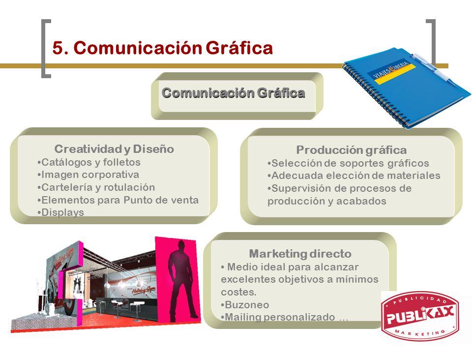 5. Comunicación Gráfica Comunicación Gráfica Creatividad y Diseño Catálogos y folletos Imagen corporativa Cartelería y rotulación Elementos para Punto
