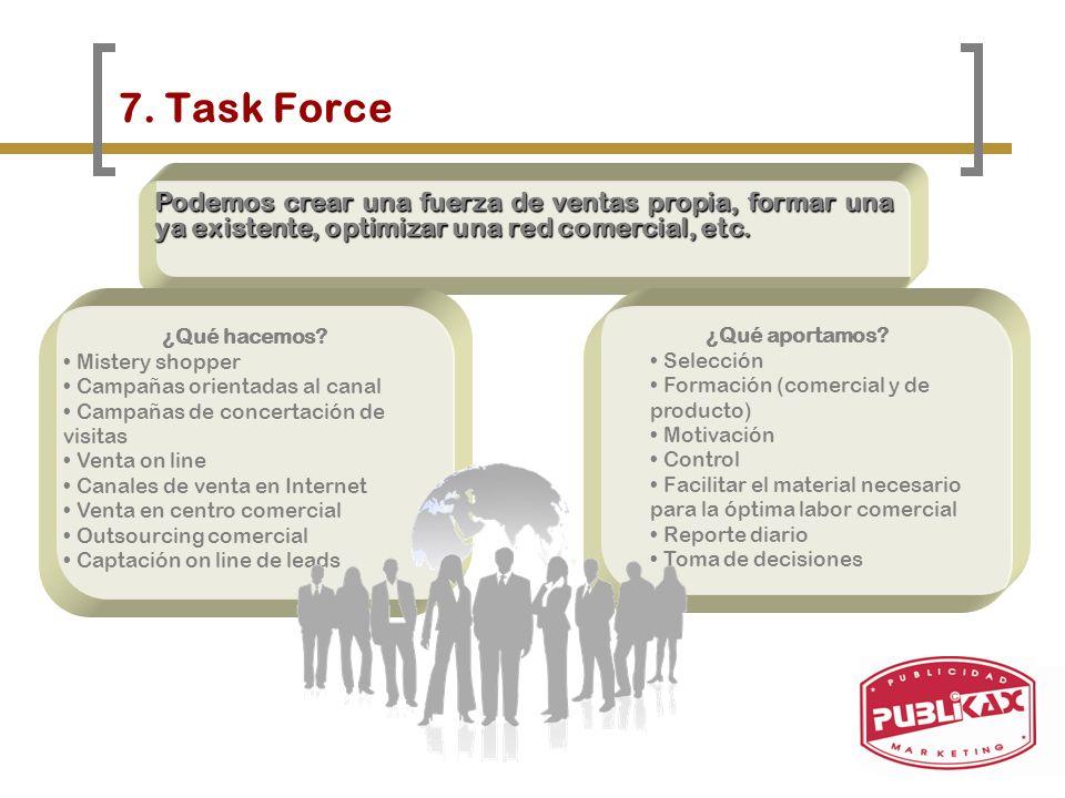7. Task Force Podemos crear una fuerza de ventas propia, formar una ya existente, optimizar una red comercial, etc. ¿Qué hacemos? Mistery shopper Camp