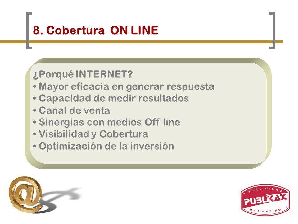8. Cobertura ON LINE ¿Porqué INTERNET? Mayor eficacia en generar respuesta Capacidad de medir resultados Canal de venta Sinergias con medios Off line