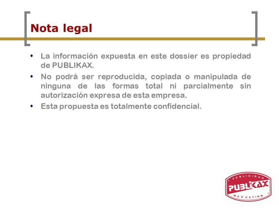 Nota legal La información expuesta en este dossier es propiedad de PUBLIKAX. No podrá ser reproducida, copiada o manipulada de ninguna de las formas t