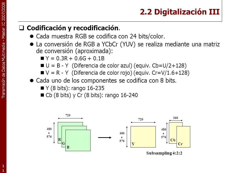 Transmisión de Datos Multimedia - Master IC 2007/2008 2.2 Digitalización III Codificación y recodificación.
