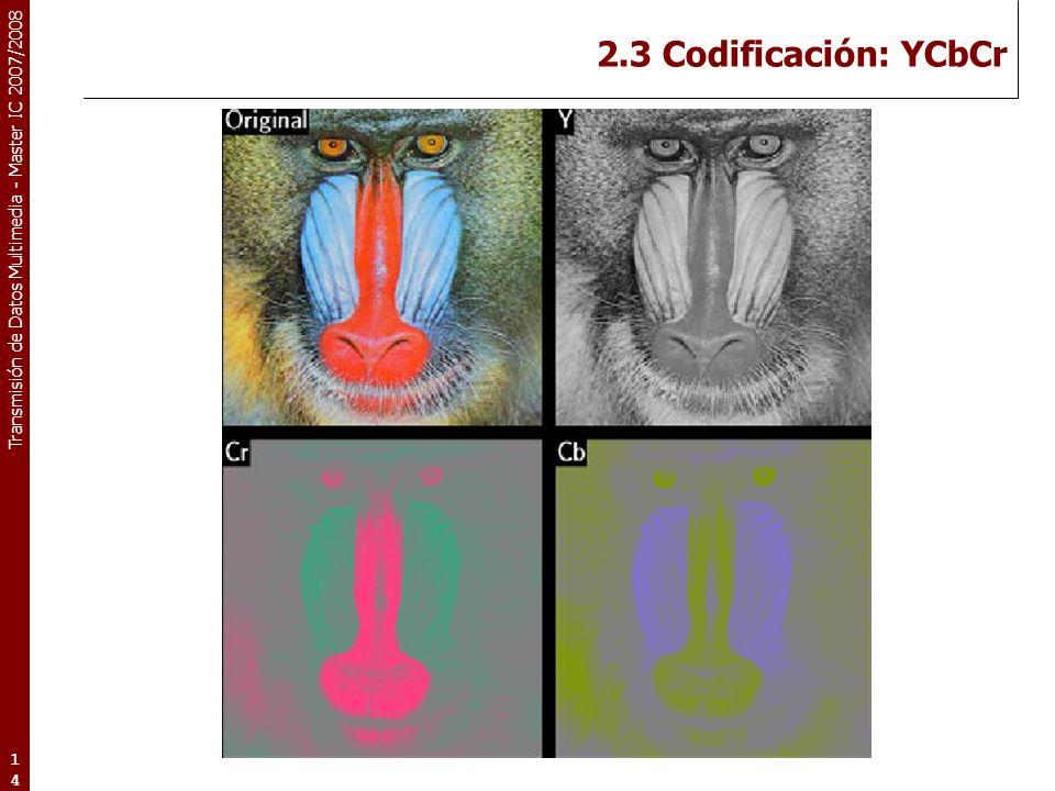 Transmisión de Datos Multimedia - Master IC 2007/2008 2.3 Codificación: YCbCr 14