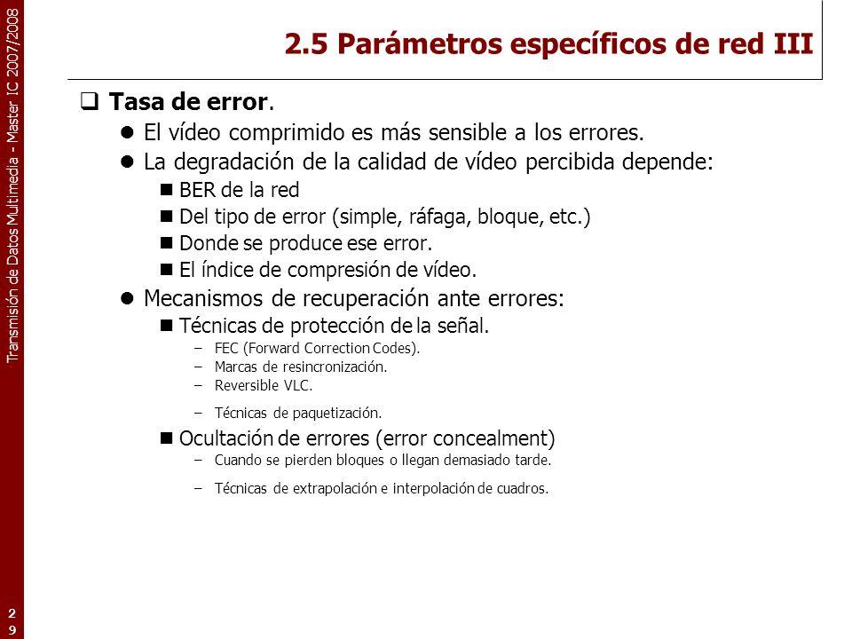 Transmisión de Datos Multimedia - Master IC 2007/2008 2.5 Parámetros específicos de red III Tasa de error.