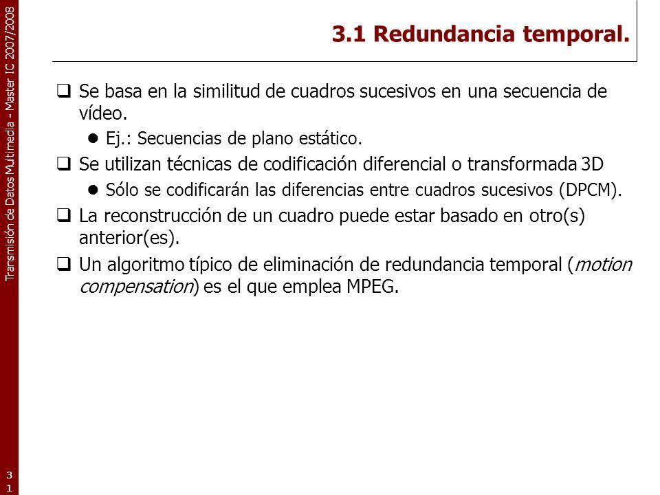 Transmisión de Datos Multimedia - Master IC 2007/2008 3.1 Redundancia temporal.