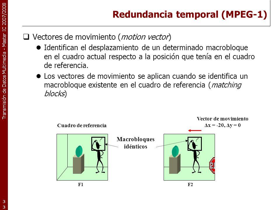 Transmisión de Datos Multimedia - Master IC 2007/2008 Redundancia temporal (MPEG-1) Vectores de movimiento (motion vector) Identifican el desplazamiento de un determinado macrobloque en el cuadro actual respecto a la posición que tenía en el cuadro de referencia.