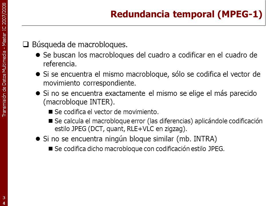 Transmisión de Datos Multimedia - Master IC 2007/2008 Redundancia temporal (MPEG-1) Búsqueda de macrobloques.