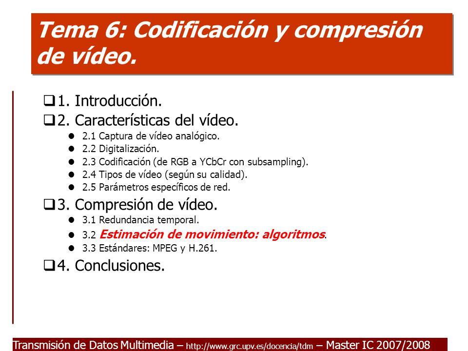 Transmisión de Datos Multimedia – http://www.grc.upv.es/docencia/tdm – Master IC 2007/2008 Tema 6: Codificación y compresión de vídeo.