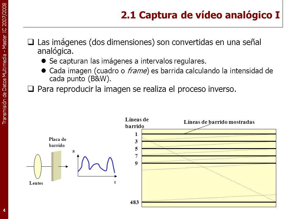 Transmisión de Datos Multimedia - Master IC 2007/2008 2.1 Captura de vídeo analógico II La captura (y reproducción) de imágenes en color es muy similar a la de blanco y negro.