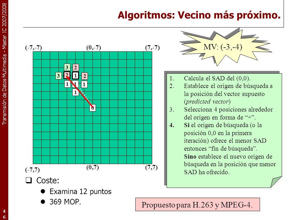 Transmisión de Datos Multimedia - Master IC 2007/2008 Algoritmos: Vecino más próximo.