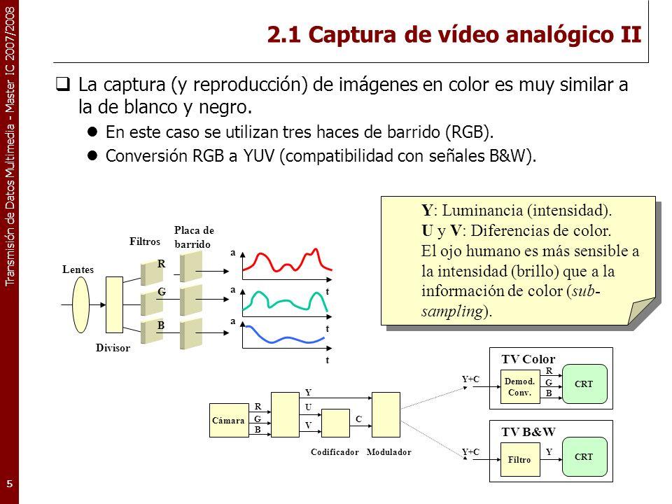 Transmisión de Datos Multimedia - Master IC 2007/2008 2.1 Captura de vídeo analógico III Parámetros de barrido: Relación de aspecto (ancho:alto): 4:3 Existen distintos estándares: NTSC (Usa y Japón): 525 líneas, 30 frames/s PAL/SECAM (Resto): 625 líneas, 25 frames/s.