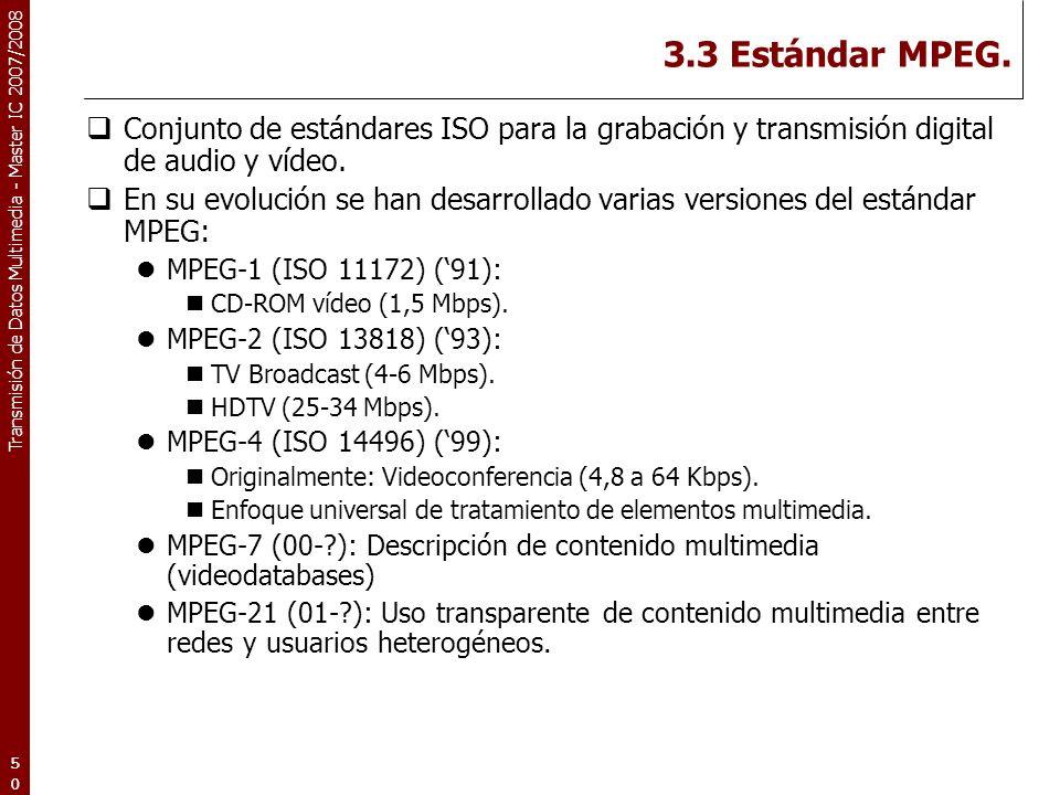 Transmisión de Datos Multimedia - Master IC 2007/2008 3.3 Estándar MPEG.