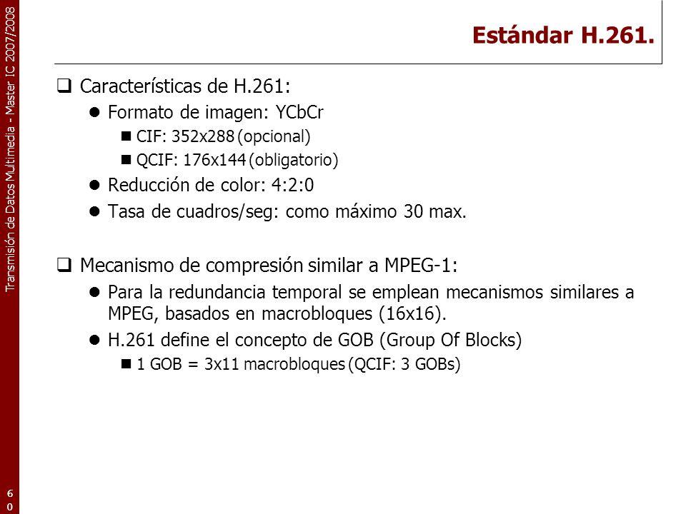 Transmisión de Datos Multimedia - Master IC 2007/2008 Estándar H.261.