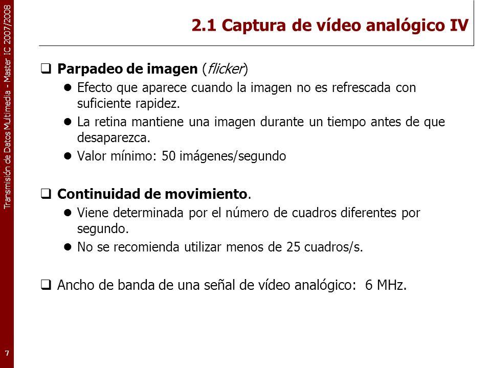 Transmisión de Datos Multimedia - Master IC 2007/2008 2.1 Captura de vídeo analógico IV Parpadeo de imagen (flicker) Efecto que aparece cuando la imagen no es refrescada con suficiente rapidez.