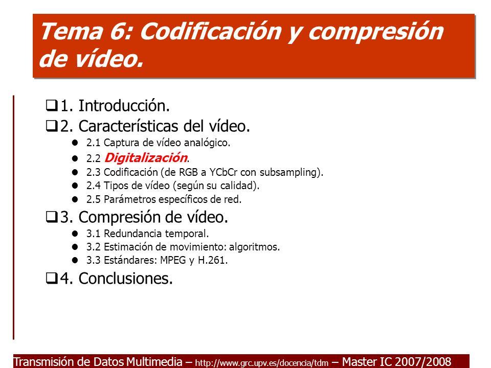 Transmisión de Datos Multimedia - Master IC 2007/2008 2.2 Digitalización I ITU-R (CCIR-601): Estándar para la digitalización de señales de TV.