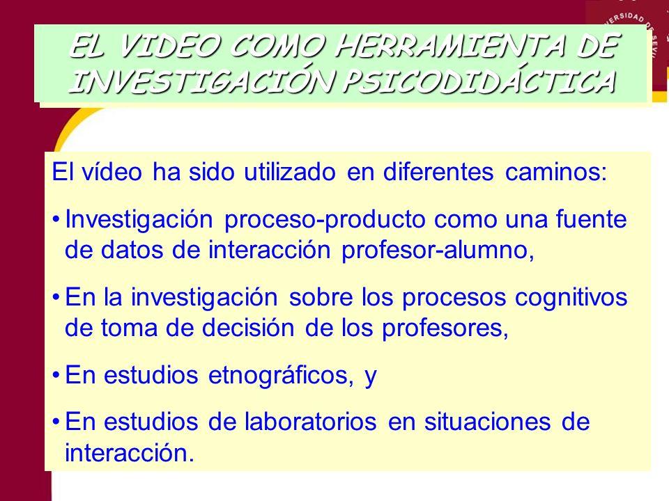 El vídeo ha sido utilizado en diferentes caminos: Investigación proceso-producto como una fuente de datos de interacción profesor-alumno, En la invest