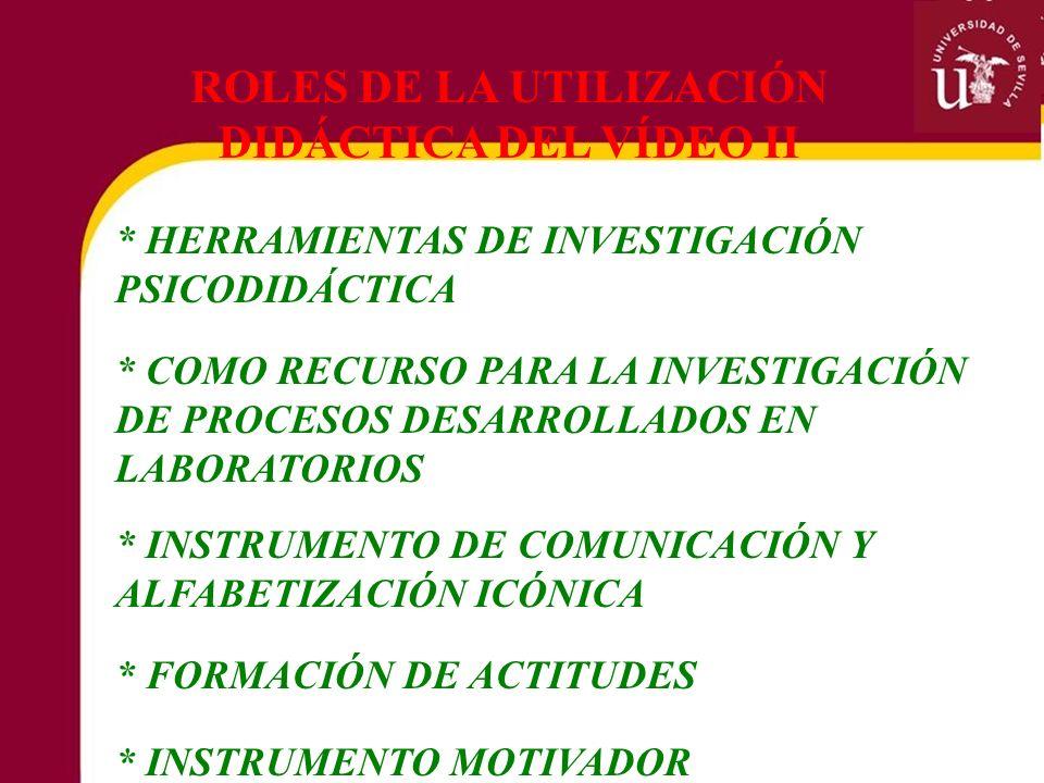ROLES DE LA UTILIZACIÓN DIDÁCTICA DEL VÍDEO II * HERRAMIENTAS DE INVESTIGACIÓN PSICODIDÁCTICA * INSTRUMENTO DE COMUNICACIÓN Y ALFABETIZACIÓN ICÓNICA *