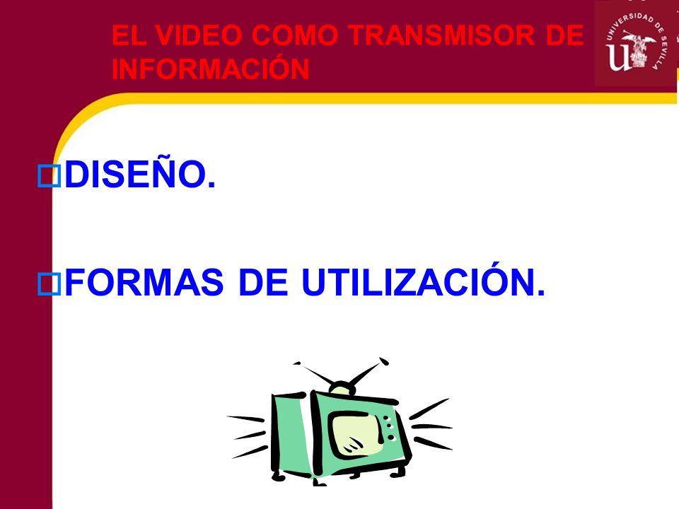 EL VIDEO COMO TRANSMISOR DE INFORMACIÓN DISEÑO. FORMAS DE UTILIZACIÓN.
