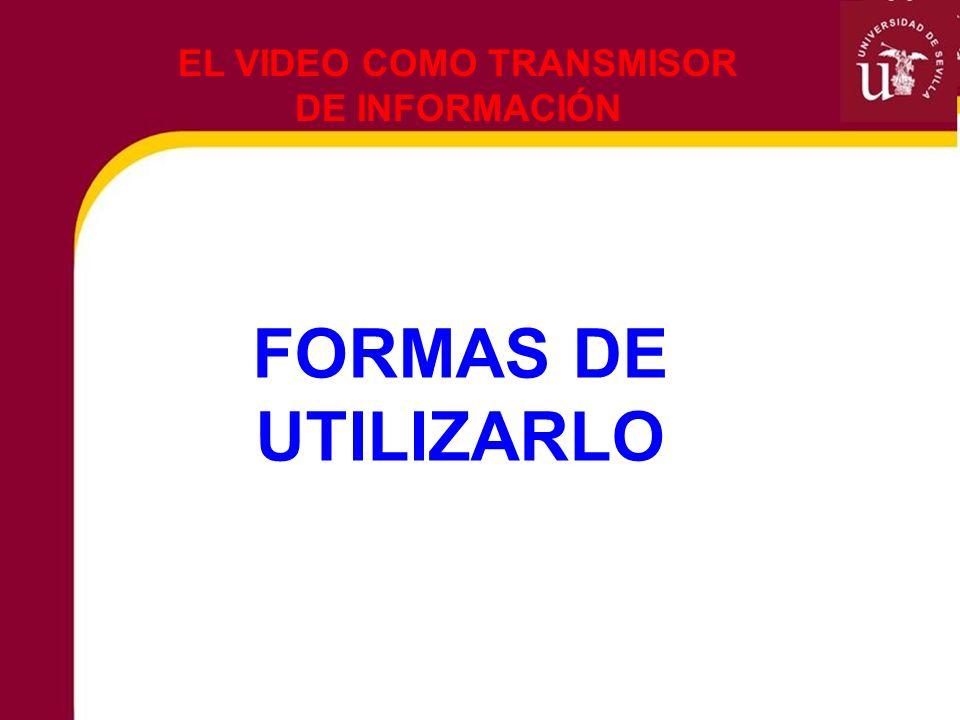 FORMAS DE UTILIZARLO EL VIDEO COMO TRANSMISOR DE INFORMACIÓN