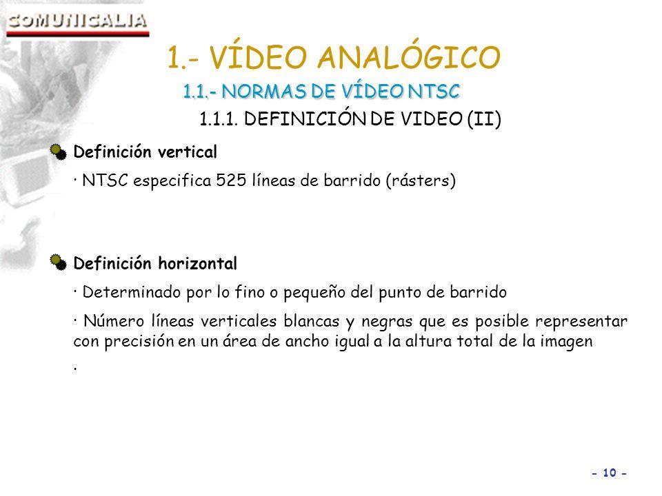 - 10 - Definición vertical · NTSC especifica 525 líneas de barrido (rásters) Definición horizontal · Determinado por lo fino o pequeño del punto de barrido · Número líneas verticales blancas y negras que es posible representar con precisión en un área de ancho igual a la altura total de la imagen · 1.- VÍDEO ANALÓGICO 1.1.- NORMAS DE VÍDEO NTSC 1.1.1.