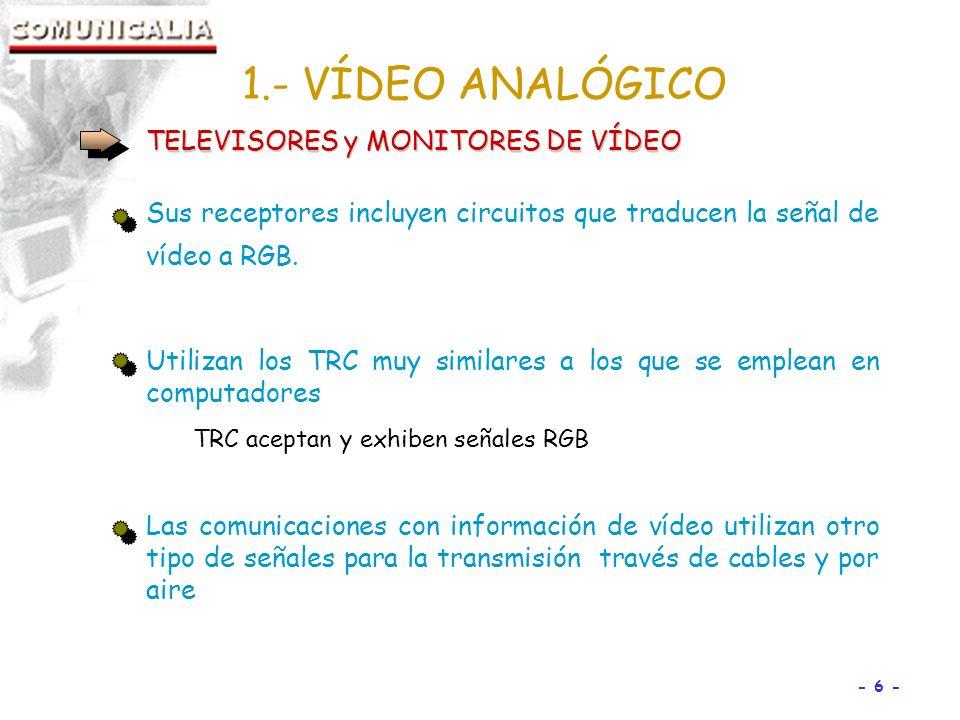 - 6 - TELEVISORES y MONITORES DE VÍDEO Sus receptores incluyen circuitos que traducen la señal de vídeo a RGB.