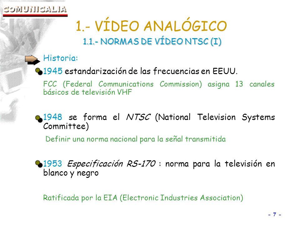- 7 - Historia: 1945 estandarización de las frecuencias en EEUU.