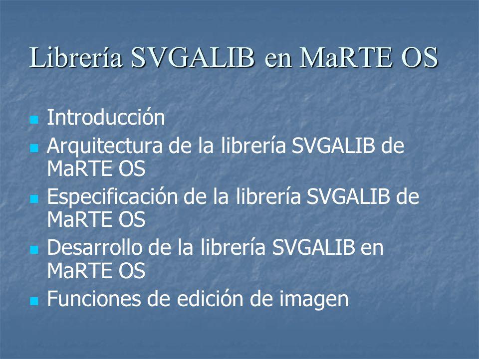 Librería SVGALIB en MaRTE OS Introducción Arquitectura de la librería SVGALIB de MaRTE OS Especificación de la librería SVGALIB de MaRTE OS Desarrollo