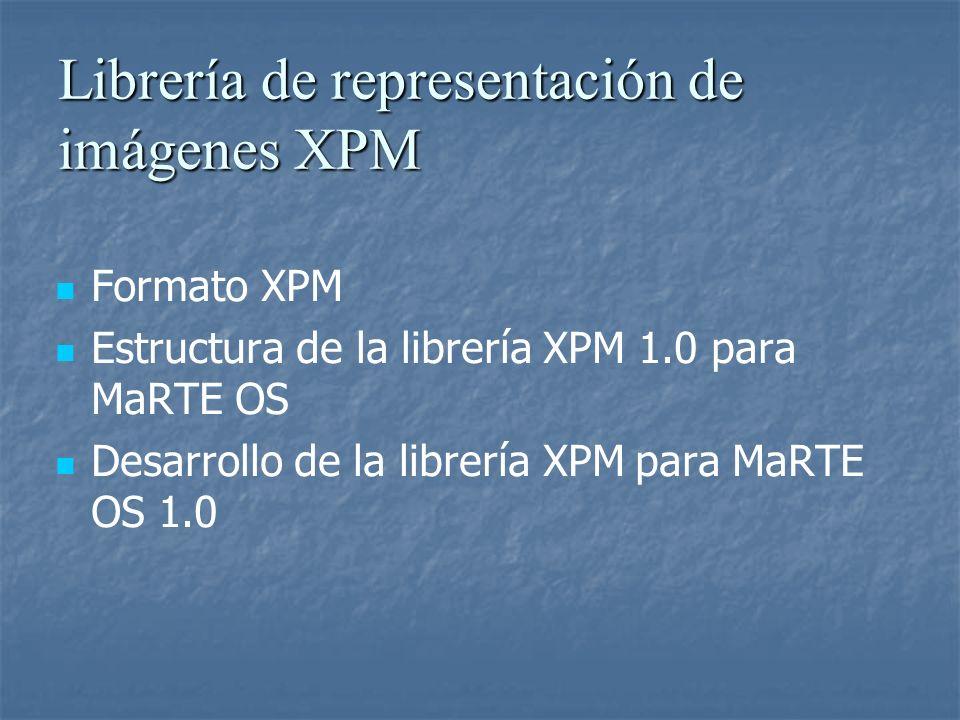 Librería de representación de imágenes XPM Formato XPM Estructura de la librería XPM 1.0 para MaRTE OS Desarrollo de la librería XPM para MaRTE OS 1.0