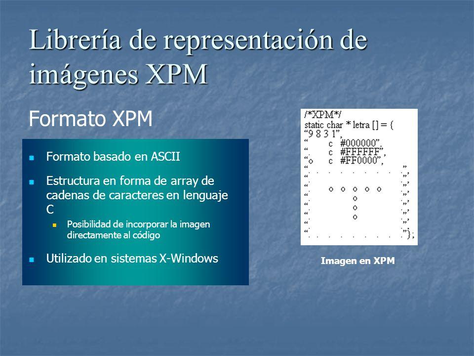 Librería de representación de imágenes XPM Formato XPM Formato basado en ASCII Estructura en forma de array de cadenas de caracteres en lenguaje C Pos