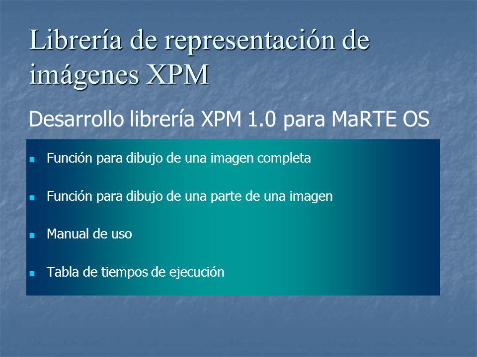 Librería de representación de imágenes XPM Desarrollo librería XPM 1.0 para MaRTE OS Función para dibujo de una imagen completa Función para dibujo de